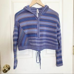 Free People Movement Crop Cinched Thumb Holes Stripe Purple Hoodie Size XS